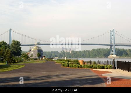 The Anthony Wayne Bridge over the maumee river in Toledo, Ohio. - Stock Photo