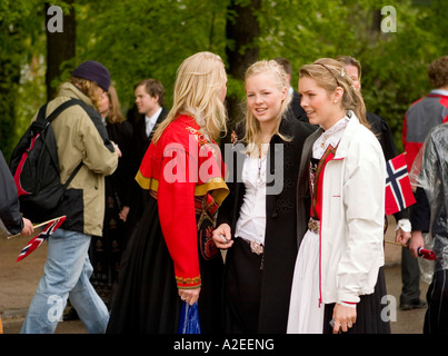 A group of young girls in Oslo Norway on Norwegian independance day 17th May - Stock Photo