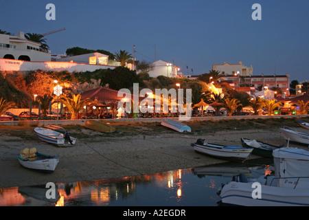 Cafes Restaurants Nightlife at the Waterfront in Alvor Algarve Portugal - Stock Photo
