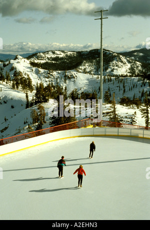 California Tahoe area in winter Ice Skating at Squaw Valley - Stock Photo