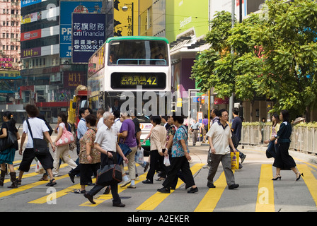 dh Yee Wo street CAUSEWAY BAY HONG KONG People crossing pedestrian crossing crowd pedestrians - Stock Photo