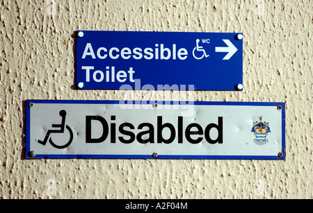 Disabled toilet sign on Worthing seafront in the UK - Stock Photo