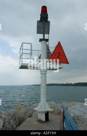 P32 101 Break Wall Warning Marker Light number 2 Lexington Michigan Harbor 1 - Stock Photo