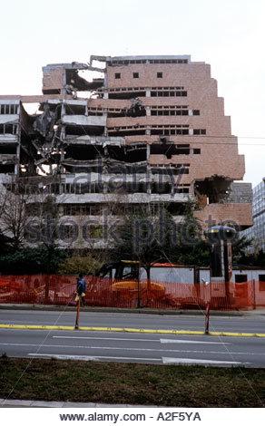 Bombed damaged building in Belgrade . December 2005 - Stock Photo