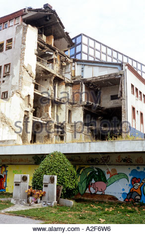 Bombed damaged building in Belgrade, Serbia . December 2005 - Stock Photo