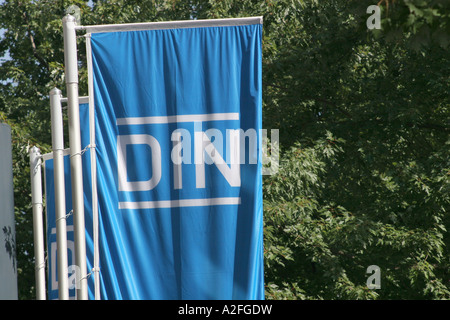 Flags in Front of the German Institut of standardization in Berlin - Stock Photo