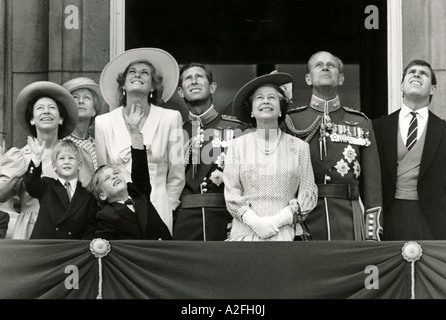 The Royal Family watching a flypast from a balcony at Buckingham Palace to mark the Queens birthday in October 1989 - Stock Photo