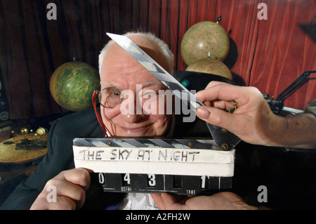 Astronomer Sir Patrick Moore at work recording the 650th  edition of The Sky At Night for the BBC - Stock Photo