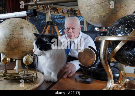 Portrait of Sir Patrick Moore the astronomer and BBC Sky At Night presenter - Stock Photo