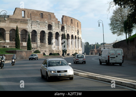 Coliseum, in, Rome, Italy, car, road, pollution, history, roman, arena, - Stock Photo
