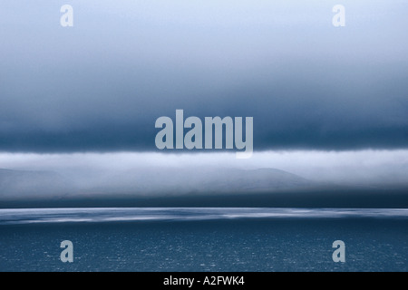 Russia's Far East - Wrangel Island. Aerial view of the coast of Wrangel Island on a misty morning - Stock Photo