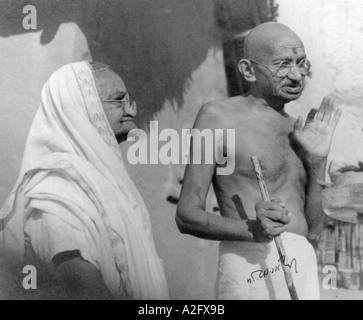 Mahatma Gandhi with wife Kasturba Gandhi at Sevagram Ashram India January 1942 - Stock Photo