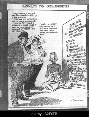 Mahatma Gandhi ten commandments cartoon 1928