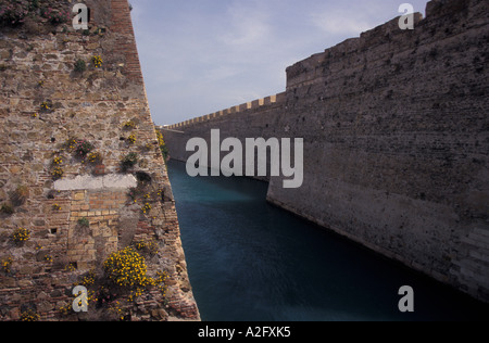 Europe, Spain (in Spanish northern Africa), Ceuta, royal walls and waterway - Stock Photo