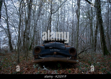 looking up at an old derelict black vintage car lying in a wintry forest - Stock Photo