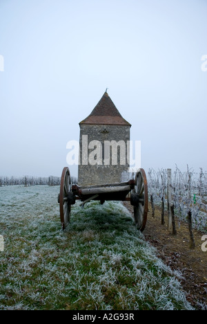 looking straight on at an old farm cart that seems to be carrying an old dovecot due to composition - Stock Photo