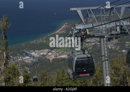 USA, Nevada, Lake Tahoe, Stateline: Heavenly Mountain Ski lift and view of Stateline, Nevada & Lake Tahoe - Stock Photo