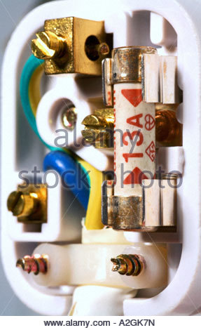 A UK 3 pin plug - Stock Photo