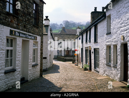 Walkers in Dent village in the Yorkshire Dales england uk - Stock Photo