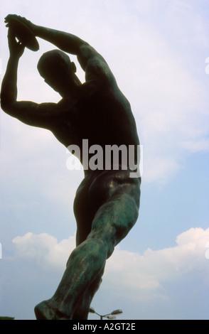 Staue of Discus thrower in front of Panathinaikon stadium Athens Greece - Stock Photo