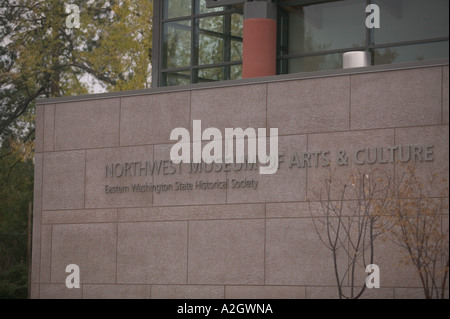 USA, Washington, Spokane: Northwest Museum of Arts and Culture Museum Sign - Stock Photo