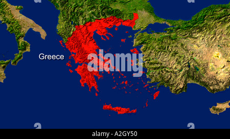 Map of greece highlighted in red on a globe 3d illustration stock satellite image of greece highlighted in red stock photo gumiabroncs Choice Image