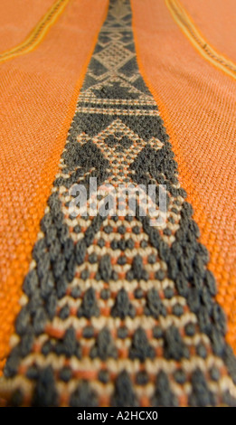 Detail of anthropomorphic supplementary warp brocaded motif on hipstrap loom woven shawl from Timor Indonesia - Stock Photo