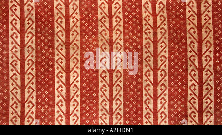 Detail of brocaded geometric motifs on hipstrap loom woven ceremonial cloth from southern Sumatra Indonesia Tampan - Stock Photo
