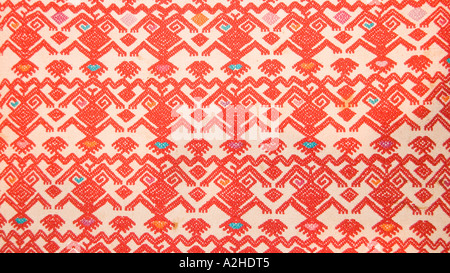 Detail of Mexican brocaded fabric with anthropomorphic motifs Chiapas Mexico - Stock Photo