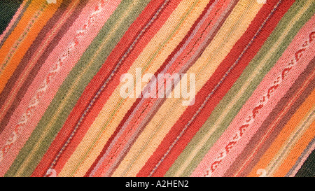 Detail of Andean fabric from Peru as sold in the markets of La Paz Bolivia and Cuzco Pisac Peru - Stock Photo