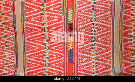 Andean fabric from Peru as sold in the markets of La Paz Bolivia and Cuzco Pisac Peru - Stock Photo