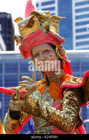Street performer in fantasy costume at the Diwali Festival of Light, Britomart plaza, Auckland New Zealand November - Stock Photo