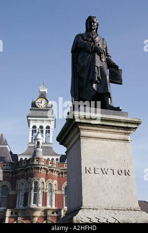 Statue of mathematician and scientist Sir Isaac Newton in his birthplace, the Lincolnshire town of Grantham. - Stock Photo
