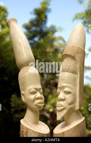 Carved ivory figurines of a stylised African man and woman. DSC 8187 - Stock Photo