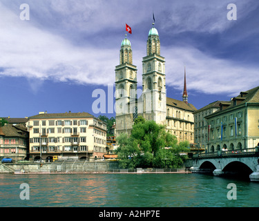 CH - Zuerich: The Cathedral and River Limmat - Stock Photo
