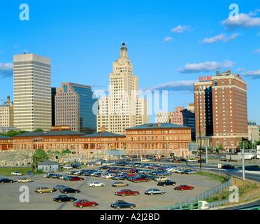 Providence Rhode Island Skyline State Capitol - Stock Photo