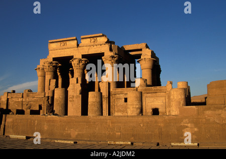 AF, Egypt, Kom Ombo. Twin Temples of Kom Ombo. On left is god Haroeris, and on right is god Sobek. - Stock Photo