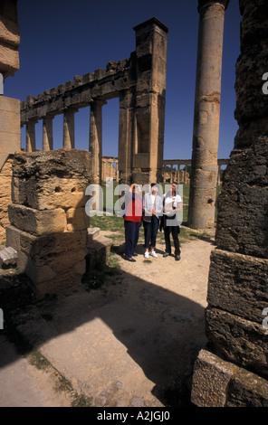 Africa, Libya, Cyrene, Apollo temple, American tourists - Stock Photo