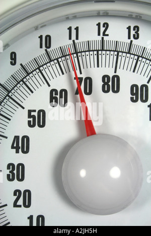 dial of bathroom scales indicating weight - Stock Photo