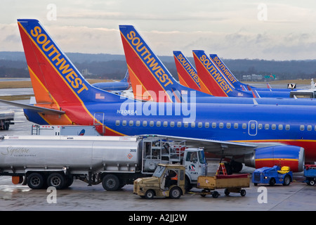 Baltimore Maryland Southwest Airlines planes on the ground at Baltimore Washington International Airport - Stock Photo
