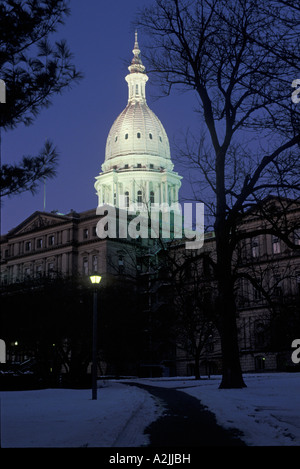 Lansing Michigan The Michigan state capitol building on an early winter morning - Stock Photo