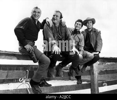 BONANZA US Western TV series 1959 1973 From left Lorne Greene Dan Blocker Michael Landon Pernell Roberts - Stock Photo
