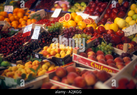 Italy Florence Mercato Centrale fresh fruits on display - Stock Photo