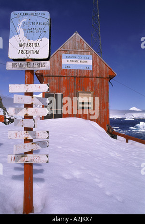 Antarctica. Almirante Brown research station,  and distance marker, Argentina - Stock Photo