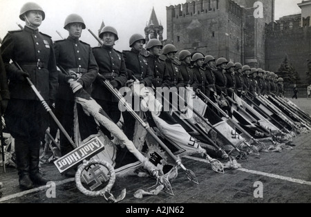 WW2 Moscow 24 June 1945 Soviet Victory Parade on Red Square included these captured German battle standards - Stock Photo