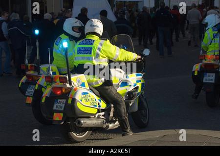 Police stopping traffic in Dublin - Stock Photo