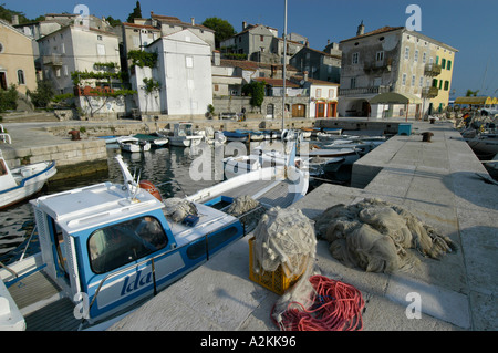 fishingboats in the harbor of the historic center of Valun Cres island - Stock Photo