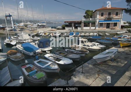 boats in the harbor of Volosko near Opatija riviera of Opatija - Stock Photo