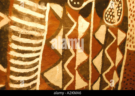 geometrical wallpaintings in a traditional hut of the Bemba people - Stock Photo
