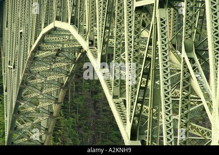 Steel structure of Deception Pass Bridge Deception Pass State Park Island County Skagit County Washington USA - Stock Photo